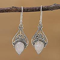 Rainbow moonstone dangle earrings, 'Crowned Drops' - Rainbow Moonstone Sterling Silver Dangle Earrings from India