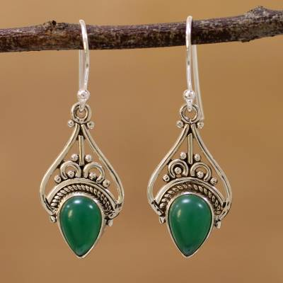 Onyx dangle earrings, 'Crowned Drops' - Green Onyx and Sterling Silver Dangle Earrings from India