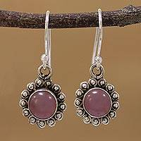 Chalcedony dangle earrings, 'Pink Appeal' - Pink Chalcedony and Sterling Silver Floral Dangle Earrings