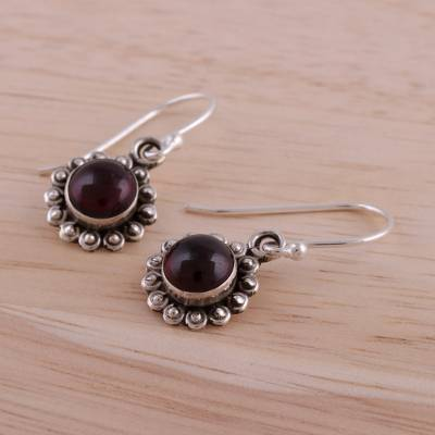 Garnet dangle earrings, 'Burgundy Appeal' - Indian Garnet and Sterling Silver Floral Dangle Earrings