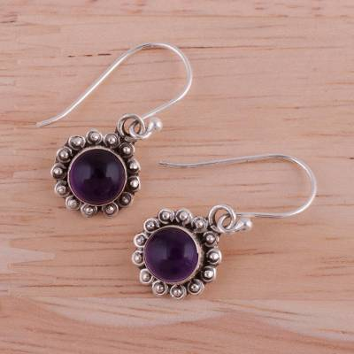Amethyst dangle earrings, 'Purple Appeal' - Indian Amethyst and Sterling Silver Floral Dangle Earrings