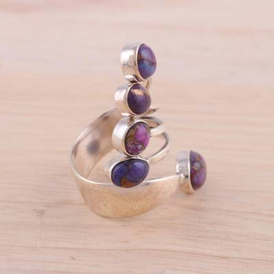 Sterling Silver Wrap Ring with Purple Composite Turquoise
