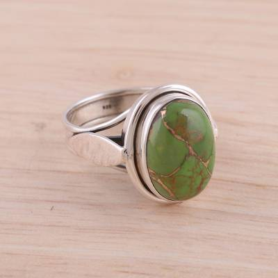 wholesale silver costume rings - Sterling Silver Cocktail Ring with Green Composite Turquoise