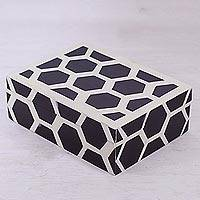 Resin decorative box, 'Hexagon Elegance' - Resin Decorative Box with Hexagonal Motifs from India