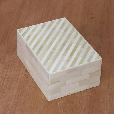 Bone decorative box, 'The Wall' - Bone Decorative Box with Striped Patterns from India