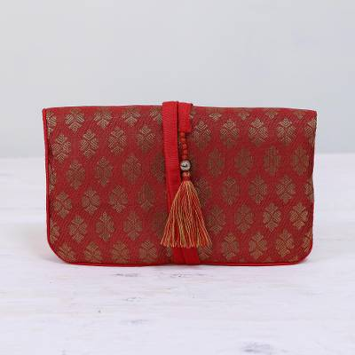 Brocade jewelry roll, 'Flowery Magic in Crimson' - Floral Motif Jewelry Roll in Crimson from India