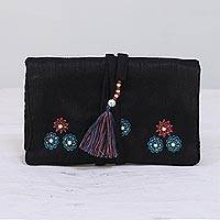 Jewelry roll, 'Black Glamor' - Black Jewelry Roll with Floral Motifs from India