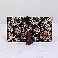 Jewelry roll, 'Path of Flowers' - Floral Jewelry Roll in Caramel and Black from India