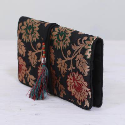 Brocade jewelry roll, 'Path of Flowers' - Floral Jewelry Roll in Caramel and Black from India
