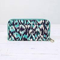 Cotton jewelry travel case, 'Turquoise Waves' - Turquoise Blue Cotton Jewelry Travel Case from India