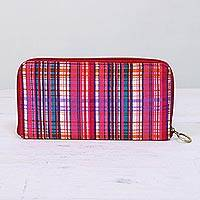 Cotton jewelry travel case, 'Intersection' - Striped Cotton Jewelry Travel Case from India