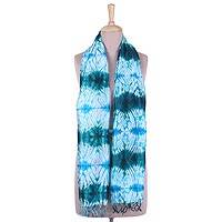 Tie-dyed silk scarf, 'Ocean Burst' - Tie-Dyed Silk Scarf with Teal and Turquoise Motifs