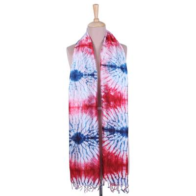 Tie-dyed silk scarf, 'Alluring Blast' - Tie-Dyed Silk Scarf in Crimson and Caribbean Blue from India