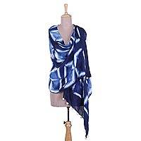 Tie-dyed silk shawl, 'Indigo Windows' - Tie-Dyed Silk Shawl in Indigo and Snow White from India