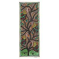 Madhubani painting, 'Peacocks in a Tree' - Signed Madhubani Folk Art Painting of Peacocks in a Tree