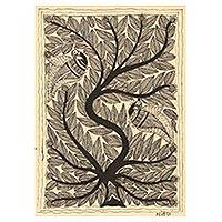 Madhubani painting, 'Bird's Abode' - Signed India Madhubani Folk Art Tree of Life Painting