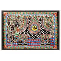 Madhubani painting, 'The Royal Elephant' - Elephant Theme Signed India Madhubani Folk Art Painting