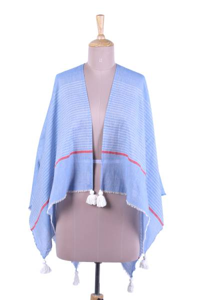 Light Blue and White Cotton Poncho Style Cover-Up