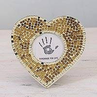 Glass mosaic photo frame, 'Wistful Memories' (3 in.) - 3 in. Heart-Shaped Glass Mosaic Photo Frame from India