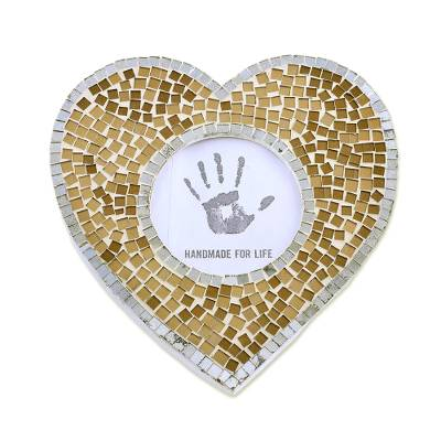 3 in. Heart-Shaped Glass Mosaic Photo Frame from India