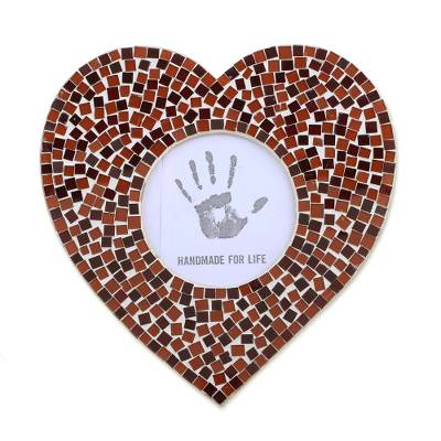 3 in. Glass Mosaic Heart Photo Frame in Red from India