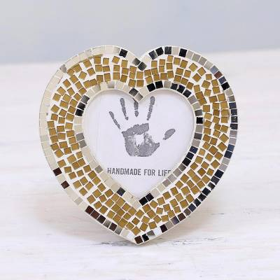 Glass mosaic photo frame, 'Alluring Heart' (3 in.) - 3 in. Handcrafted Glass Mosaic Heart Photo Frame from India