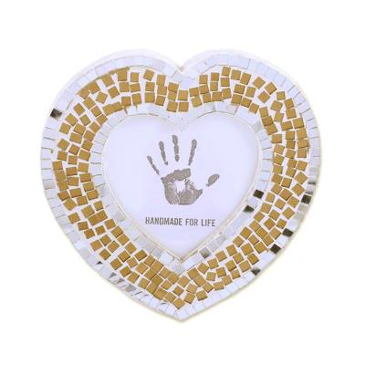 3 in. Handcrafted Glass Mosaic Heart Photo Frame from India