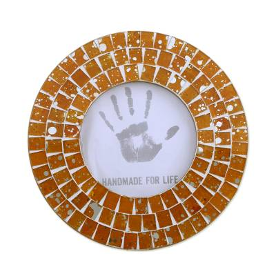 4 Inch Circular Orange Glass Mosaic Photo Frame from India