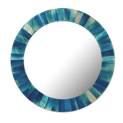 Circular Blue Mango Wood Wall Mirror from India
