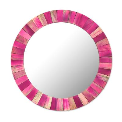 Circular Pink Mango Wood Wall Mirror from India