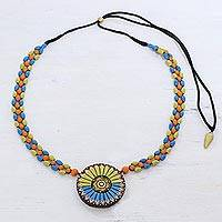 Ceramic beaded pendant necklace, 'Everlasting Mandala' - Floral Mandala on Hand Painted Ceramic Beaded Necklace