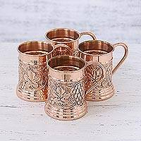 Copper tankards, 'Grape Vines' (set of 4) - Four Handcrafted Grape Motif Copper Tankards