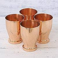 Copper cups, 'Shared Friendship' (set of 4) - Four Handcrafted Polished Copper Cups from India
