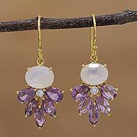 Gold plated amethyst and rainbow moonstone dangle earrings,