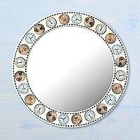 Wood wall mirror, 'World Travels' - Travel-Themed Circular Wood Wall Mirror from India