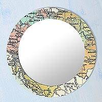 Wood wall mirror, 'World Tour' - Map-Themed Circular Wood Wall Mirror from India