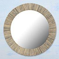 Wood wall mirror, 'Natural Rays' - Handcrafted Circular Patterned Wood Wall Mirror from India