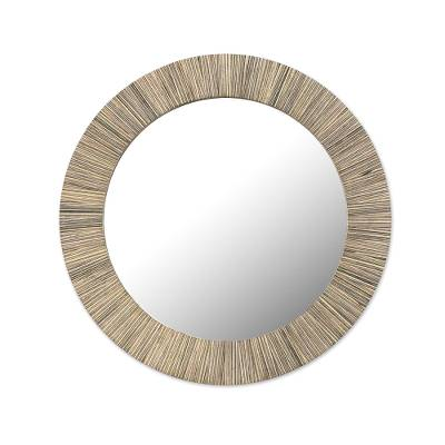 Handcrafted Circular Patterned Wood Wall Mirror from India