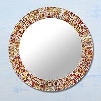 Glass mosaic mirror, 'Fiery Splash' - Glass Mosaic Wall Mirror in Red and Yellow from India