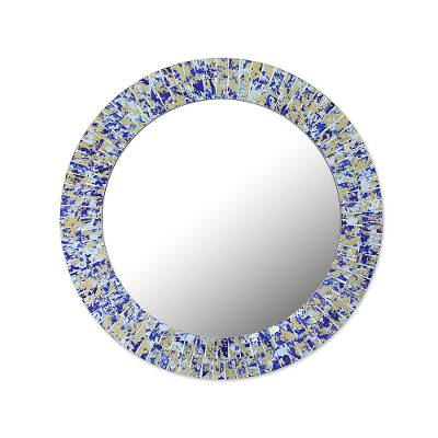 Circular Glass Mosaic Wall Mirror in Blue from India