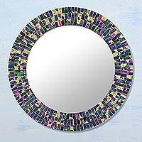 Glass mosaic wall mirror, 'Navy Splash' - Circular Glass Mosaic Wall Mirror in Navy from India