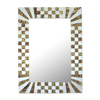 Glass Mosaic Wall Mirror with Vine Motifs from India