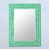 Glass mosaic wall mirror, 'Hedge Maze' - Rectangular Glass Mosaic Wall Mirror in Green from India
