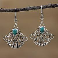 Sterling silver dangle earrings, 'Palatial Beauty' - Sterling Silver Openwork Dangle Earrings from India