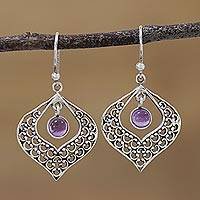 Amethyst dangle earrings, 'Regal Lilac' - Amethyst and 925 Silver Openwork Dangle Earrings from India