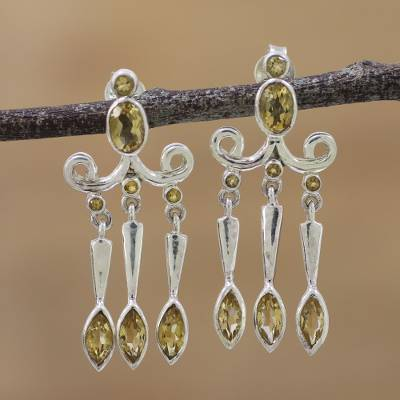 Citrine chandelier earrings, 'Twinkling Charm' - Citrine and Sterling Silver Chandelier Earrings from India
