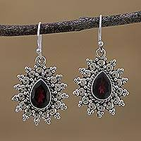 Garnet dangle earrings, 'Droplet Radiance' - Drop-Shaped Garnet and 925 Silver Dangle Earrings from India
