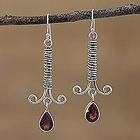 Garnet dangle earrings, 'Beautiful Wrap' - Garnet and Sterling Silver Dangle Earrings from India
