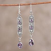 Amethyst dangle earrings, 'Pretty in Purple' (India)