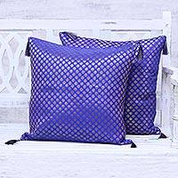 Brocade cushion covers, 'Royal Garden' (pair) - Ultramarine Blue Cushion Covers with Gold Motifs (Pair)